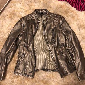 Metallic Leather Jacket/ Leather Vest